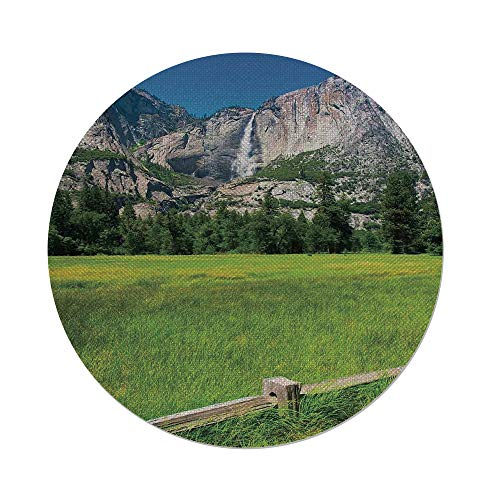 iPrint Cotton Linen Round Tablecloth,Yosemite,The Falls in Yosemite National Park California USA Countryside Landmark Picture,Green Blue,Dining Room Kitchen Table Cloth (Lifestyle California Country Table)