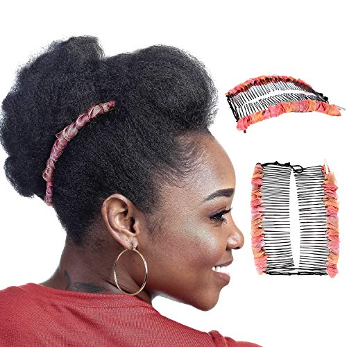 Large Banana Clip for Thick Hair Women, Elastic Double Combs Make Great Hair Accessories for Kinky, Curly Ponytail, Mohawk, Bun (Peach & Rose)