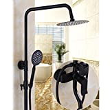 W&P Bathroom Black Shower Set Wall Mounted Rainfall Shower Mixer Tap Faucet Antique Retro Hot & Cold Water Shower Set , d