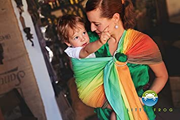 5b08e2ed5ff Amazon.com   Ring Sling Baby Carrier Little Frog Wrap Conversion Sunny  Ammolite - 2m   Baby