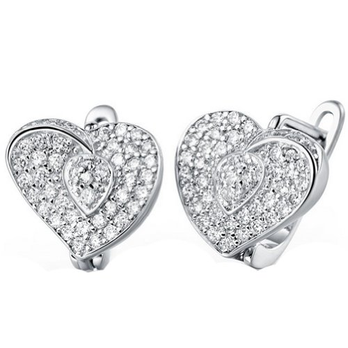 K-DESIGN Romantic Women Clip Earrings 925 Sterling Silver Love Heart Micro Pave Zircon Crystal