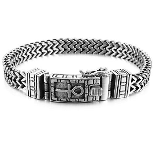 INBLUE Men's Stainless Steel Bracelet Link Wrist Silver Tone Egyptian Ankh Cross