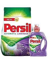 Persil Powder Lavender Scent Detergent, 6 kg with Persil Power Gel Lavender Scent Detergent - 1 kg