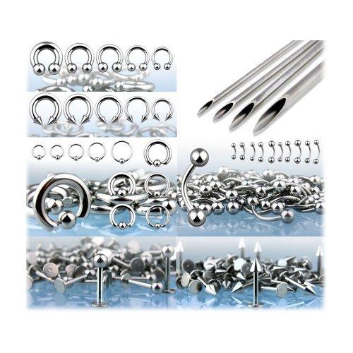 BodyJ4You 175 Piercing Kit 14G-16G Steel Body Piercing Starter Kit Piercing Needles Forceps Retainer