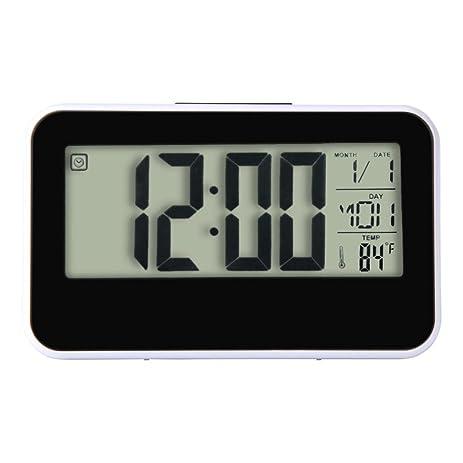 Han Shi Smart Clock Calendar Time Temperature Display Digital Alarm Clock  LED Digital Backlight Clock Bedroom