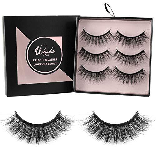 False Eyelashes Wenida 3 Pairs Professional Handmade Reusable 3D Soft Dramatic Fluffy Long Deluxe Fake Eyelashes Set