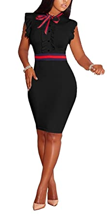 6ede5f272c Molisry Women s Retro Short Sleeve Wear to Work Solid Color Chic Elegant Pencil  Dress