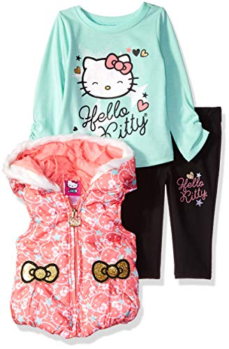 Hello Kitty Baby Girls' 3 Piece Tee, Vest, and Legging Set, Coral/Mint, 18M