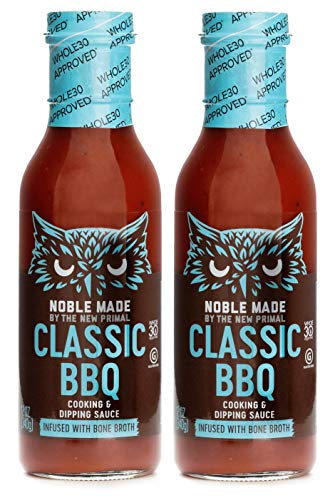 Noble Made by The New Primal, Bone Broth Infused Classic BBQ Cooking and Dipping Sauce, Whole30 and Paleo Friendly, 12oz, Pack of 2