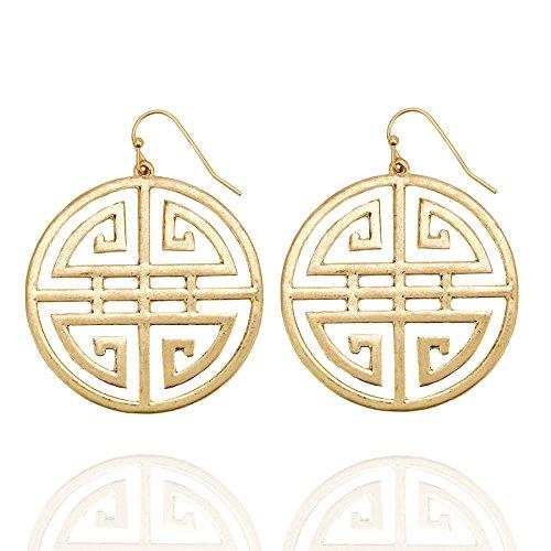 (Pomina Oriental Celtic Drop Earrings (Worn Gold))