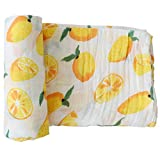 """Swaddle Blankets Muslin By LifeTree - Premium 70% Bamboo 30% Cotton - """"Lemon Print"""" Large Summer Swaddling Cloth ,Baby Car Seat Cover, Nursing Cover, Burp Cloth"""