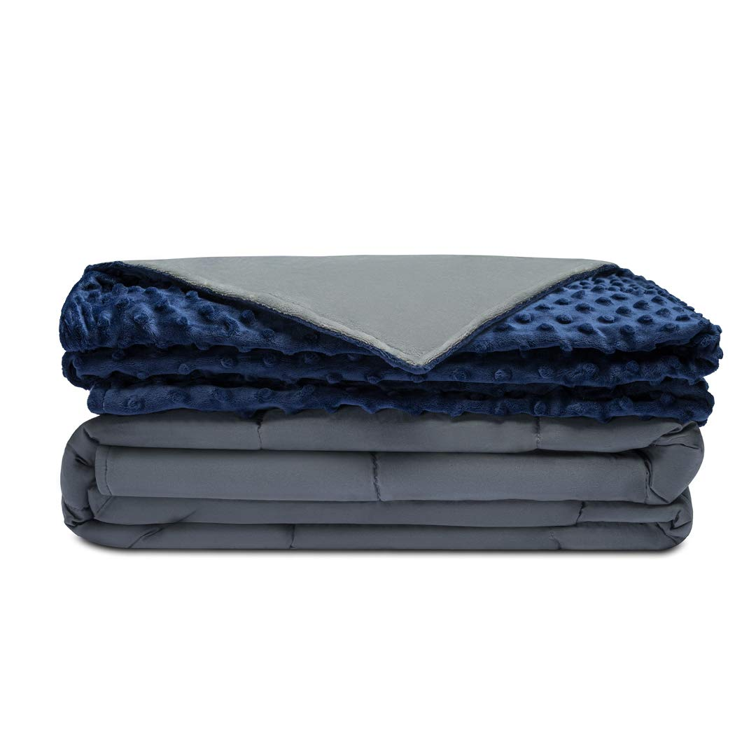 Quility Premium Adult Weighted Blanket & Removable Cover | 20 lbs | 60''x80'' | for Individual Between 190-240 lbs | Full Size Bed | Premium Glass Beads | Cotton/Minky | Grey/Navy Blue by Quility