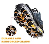 Ice Cleats Traction Snow Grips Crampons for Women Men Kids Shoes Boots Anti Slip 18 Stainless Steel Spikes Safe Protect for Walking Hiking Fishing Jogging Climbing Mountaineering New Upgraded