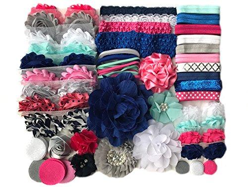 Bowtique Emilee Baby Shower Headband Kit DIY Headband Kit makes over 30 Headbands - Blue and Pink -