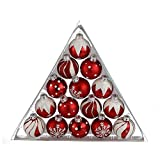 Kurt Adler 1.57-Inch Red/White Decorated Glass Ball Ornament Set of 15