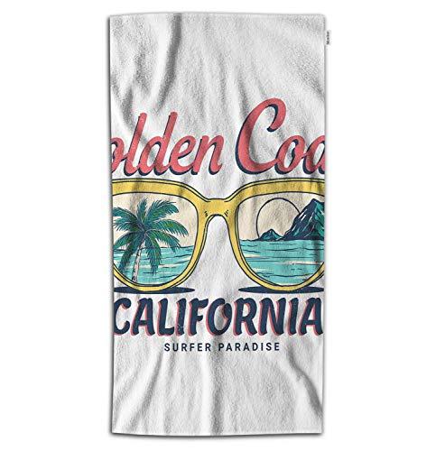 Moslion Beach Bath Towel California Golden Coast with Sunglasses Palm Tree Sea Mountain Towel Soft Microfiber Baby Hand Beach Towel for Kids Bathroom 32x64 Inch