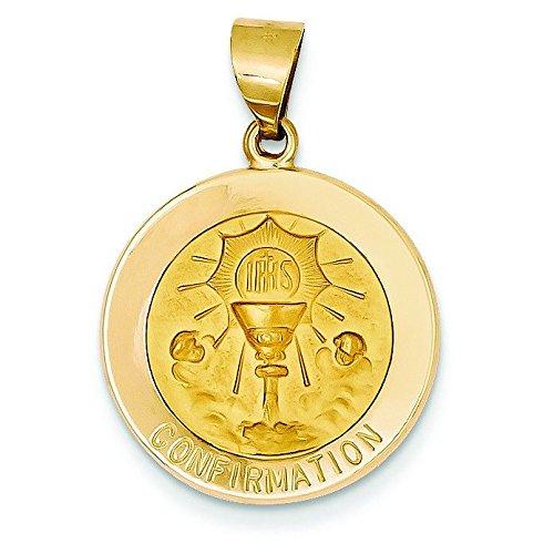 Poli et satiné 14 Carats Pendentif Médaille JewelryWeb Confirmation