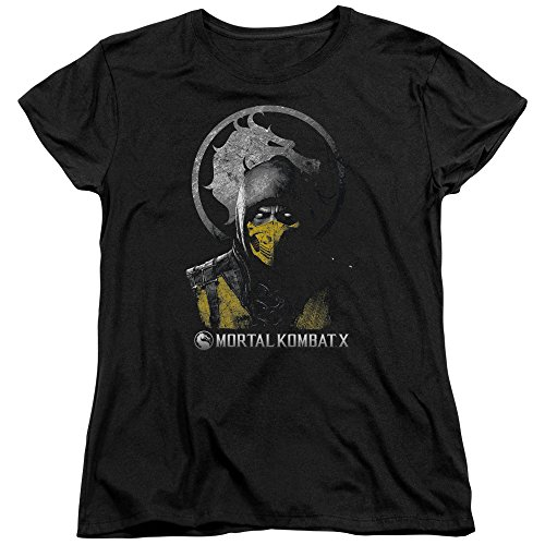 Mortal Kombat - Womens Scorpion Bust T-Shirt, Size: XX-Large, Color: Black -