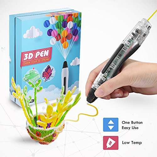 3D Printing Pen, Low Temperature Safe for Kids & Adults, Simple 1 Button Operation Easy Operated, Won't Clog, Holidy Extra Bonus DIY Gift (Lucency) by AILINK