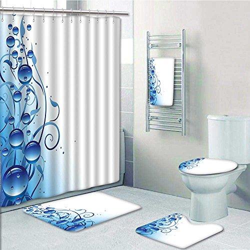 aolankaili 5-Piece Bathroom Set-Purity Symbol Liquid Water Drops Branch Bubbles Eco Violet Blue Prints Decorate The Bathroom,1-Shower Curtain,3-Mats,1-Bath Towel(Medium ()