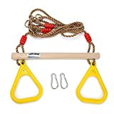 Antwalking Wooden Trapeze Swing bar with Plastic Triangular Gym Rings for Kids