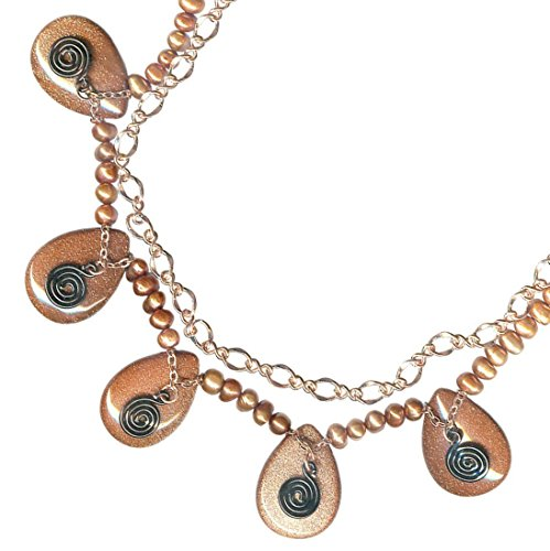 Goldstone Teardrop Copper Chain Spiral Layered Statement (Spiral Drop Necklace)