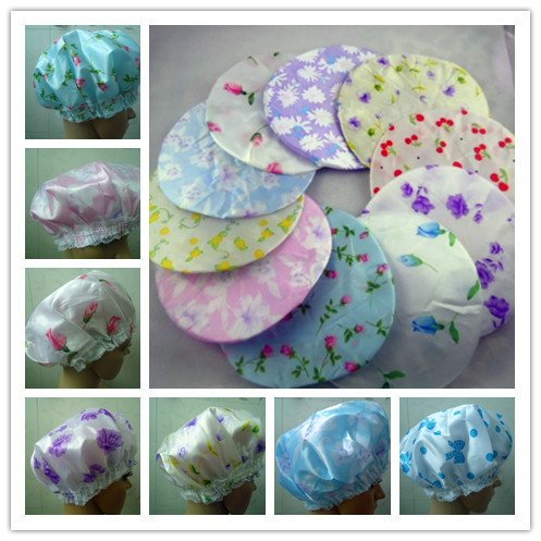 10pcs / Lot Красивый шапочки для душа Ванна Caps Водонепроницаемый Шампунь Cap Сгущение макияж Cap Hotel Home ванной комнаты Набор красоты волос цвета в случайном порядке