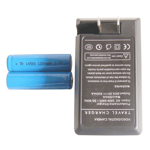 Light&Energy 14500 1200mah 3.7v Rechargeable Li-ion Battery (Pair) + Charger Combo