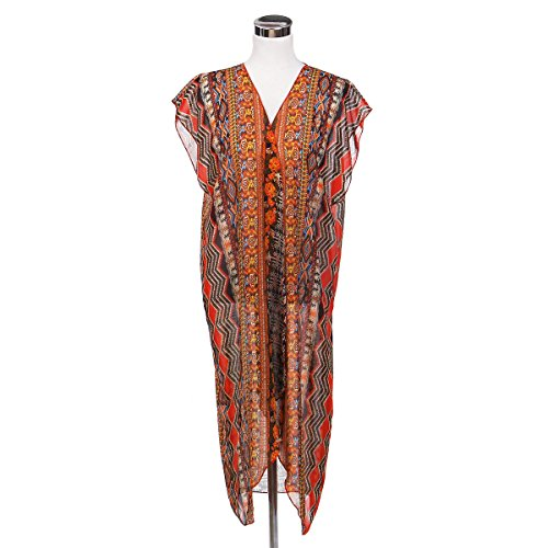 Vest Silk Print (TrendsBlue Long Bohemian Tribal Chiffon Sheer Kimono Wrap Vest Beach Cover Up, Orange)