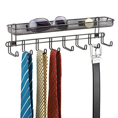 mDesign Closet Wall Mount Accessory Organizer for Storage of Ties, Belts, Watches, Glasses, Accessories – 8 Hooks/1 Basket, Bronze