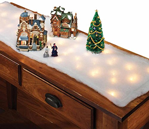 Miles Kimball White Lighted Snow Table Runner