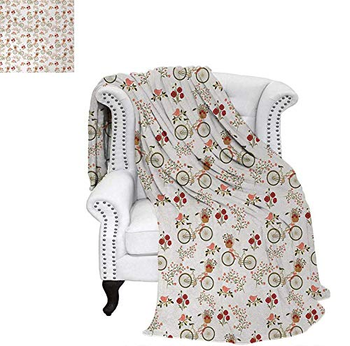 Velvet Plush Throw Blanket Nostalgic Romance with Bikes Baskets Full of Poppy Flowers Baskets Love Birds Spring Throw Blanket 50