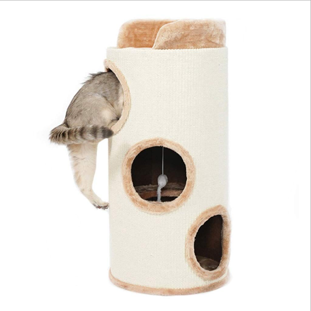 Cat Tree Cat Climbing Frame Sisal Barrel Cat Case Cat Cave Pet Articles Cat Toy Cat Grab Column Round 3-layer Beige (80  30cm)