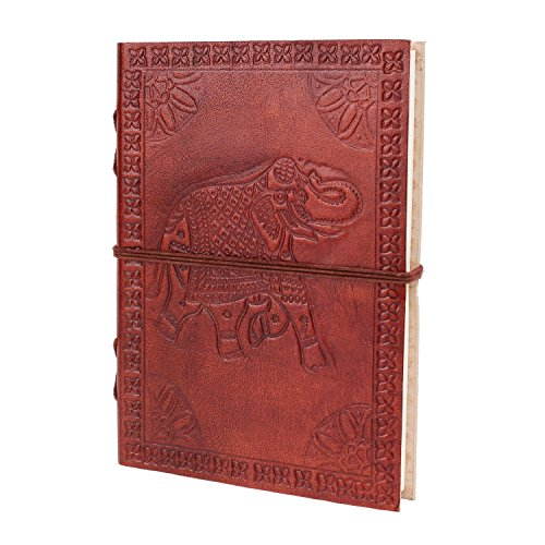 Handmade Leather Journal Diary (7 X 5) Elephant Designed Travel Notebook with Handmade Unlined Paper