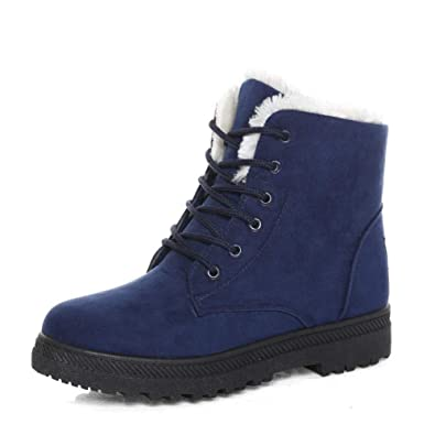 249979420 SHIBEVER Women Winter Warm Lace Up Cotton Snow Ankle Boots Flat Platform  Sneaker Shoes Dark Blue