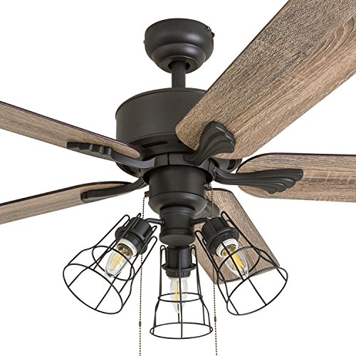 Prominence Home 50567-01 Aspen Pines Farmhouse Ceiling Fan, 52 , Barnwood Tumbleweed, Aged Bronze