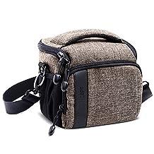 K&F Concept Camera Bag DSLR Camera Bag for 1 Camera and 1 Lens Shoulder Bag for Canon Nikon Sony DSLR SLR Camera (M Casual Shoulder Bag 6.7*4.7*5.9'', Khaki)