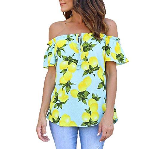 Women T-Shirt,Haoricu Summer Women Black Polka Dot Off Shoulder Short Sleeve Shirt Tops (S, Yellow)