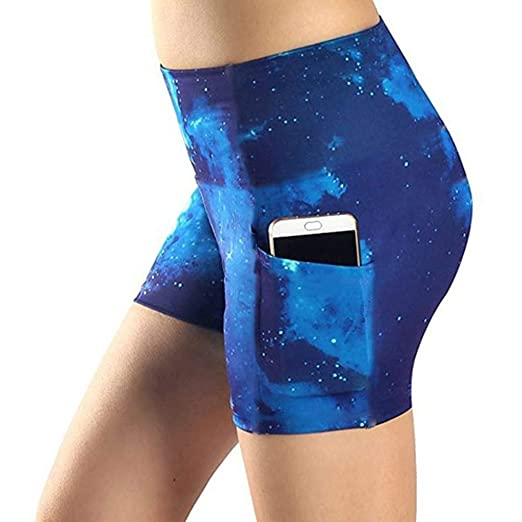 3597252376 JOFOW Short Leggings Womens Black Hole Galaxy Universe Planet Print Cycling  Shorts High Waist Workout Sport