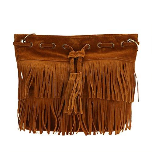 Bolso de las mujeres - All4you bandolera bolsos con flecos borlas para Ladies(Brown) Marrón