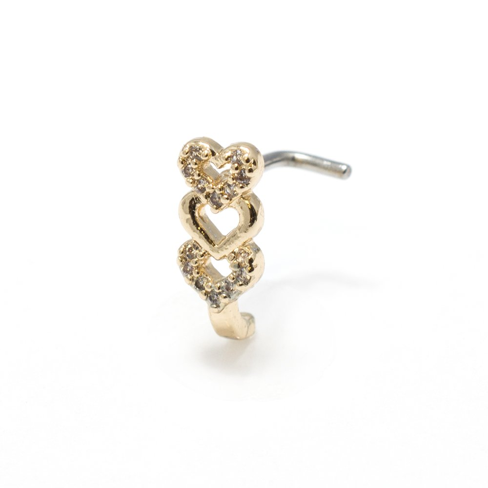 Nose Rings L-Bend 1pc CZ Gem Paved Triple Heart 20g 18G Nose Crawler Stud Screw 18) BodyJewelryOnline NOL-53-18G-GOLD