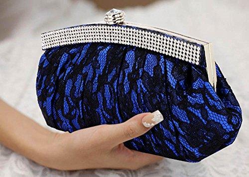 TrendStar Meine Damen Elegante Abend Party Geldbeutel Blütenspitze Kristall Handtaschen Blau iFCC2Vsq