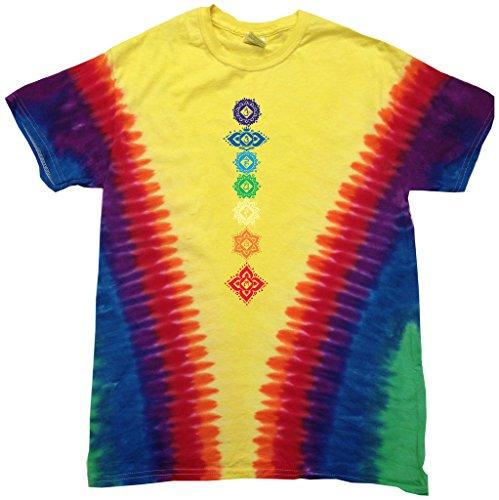 Mens FLORAL CHAKRAS V-dye T-Shirt, 3XL Vee Rainbow Review