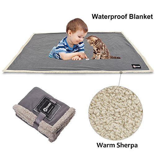 Waterproof Dog Blanket,Premium Pet Puppy Cat Soft Fleece Sherpa Throws Blanket Cushion Mat for Car Seat Furniture Protector Cover Small 50
