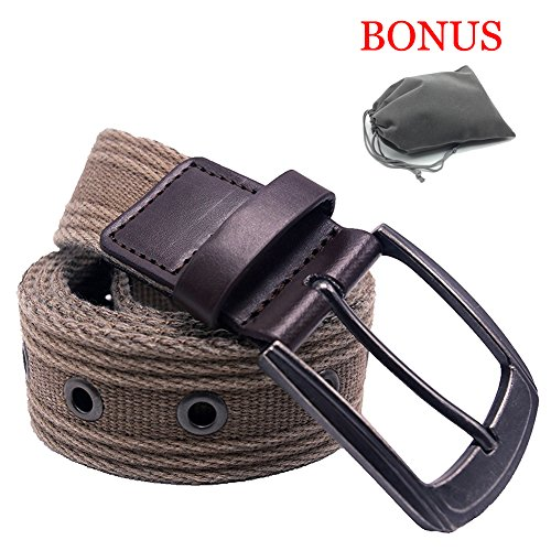 Men's Military Water-Washed Canvas Waist Web Belt Leather Tipped End and Silver Metal Buckle (Large(38-40), Brown)