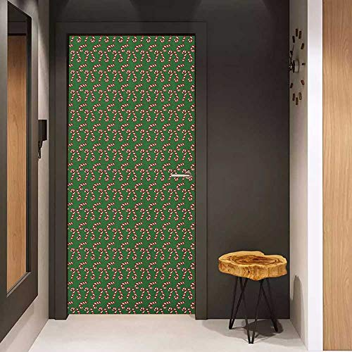Onefzc Automatic Door Sticker Christmas Sweet Candy Canes and Lollipops Classical Pattern for Holiday Xmas Festive Easy-to-Clean, Durable W38.5 x H77 Green Red White