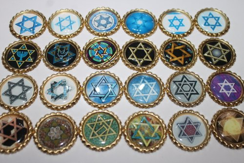 Geocaching Coins Swag Bottle Caps - Star of David Collection