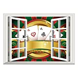 SCOCICI Removable Wall Sticker/Wall Mural/Poker Tournament,Gambling Fortune Wealth Playing Cards Hand Casino Roulette Winning Print Decorative,Multicolor/Wall Sticker Mural