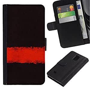 KingStore / Leather Etui en cuir / Samsung Galaxy Note 4 IV / Profundo Significado Oscuro Negro Limpiar minimalista