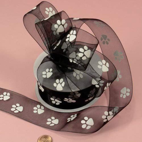 Black Sheer Paw Prints Ribbon, 1-1/2